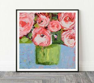 12x12 Print - Pink Floral Roses Flower Living Room Print Katie Jeanne Wood