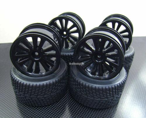 Rim for Traxxas 1//16 E-Revo Front Rear Rubber Radial Tire //w inserts