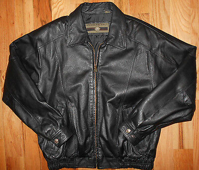 Leather Motorcycle Jacket MEDIUM Mens Insulated Blk Coat Members Only 4C53