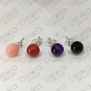 925-Sterling-Silver-amp-Gemstone-Ball-Stud-Earrings-Amethyst-Black-Agate-Coral-6mm