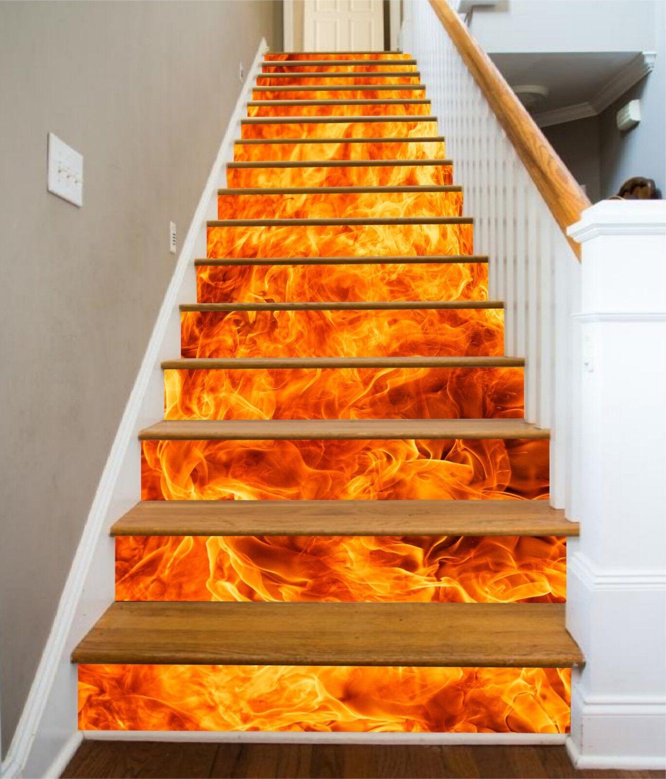 3D Flame Orange Stair Risers Decoration Photo Mural Vinyl Decal Wallpaper UK