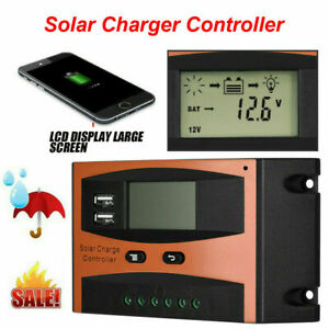 Waterproof-Solar-Panel-PWM-Smart-Phone-Charger-Controller-LCD-Display-USB-30A