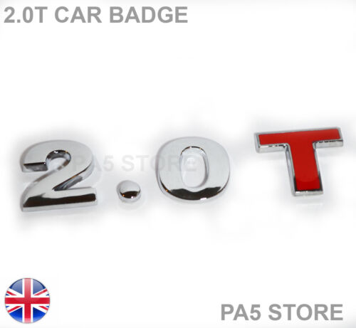 Audi VW Saab Ford Toyota 2.0T Chrome /& Red Car Badge 2 Litre Turbo 3 Piece