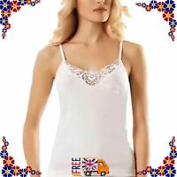 New Ladies Women's Lace Trim Plain Cotton Vest Top Strappy Camisole S M L XL XXL