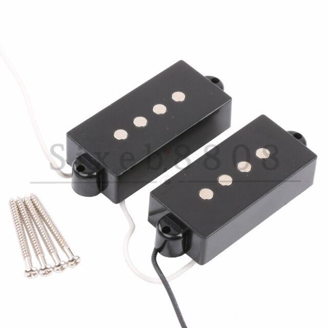 4 String Noiseless Bridge Pickup Set For Precision P Bass Magnetic Steel Black