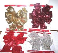 Christmas Tree Topper Bow Large U Pick Red Gold Metallic Silver Ribbon Wreath