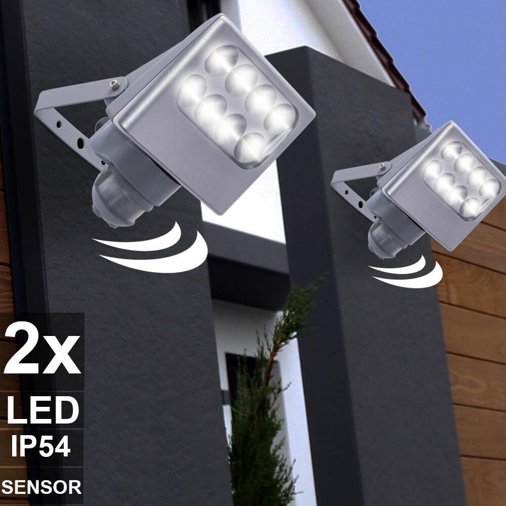 2x LED Extérieur Mur Lumières Aluminium Luminaire Détecteur de Mouvement Jardin