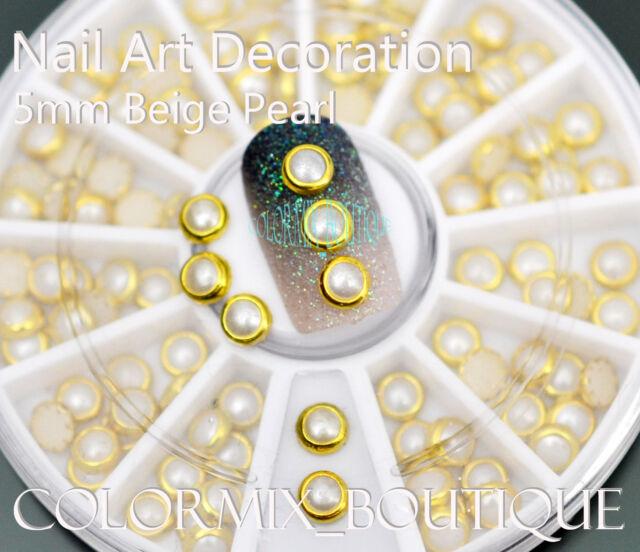 #R34  5mm Beige Pearl 3D Nail Art Decoration Half Round Glitter Rhinestione