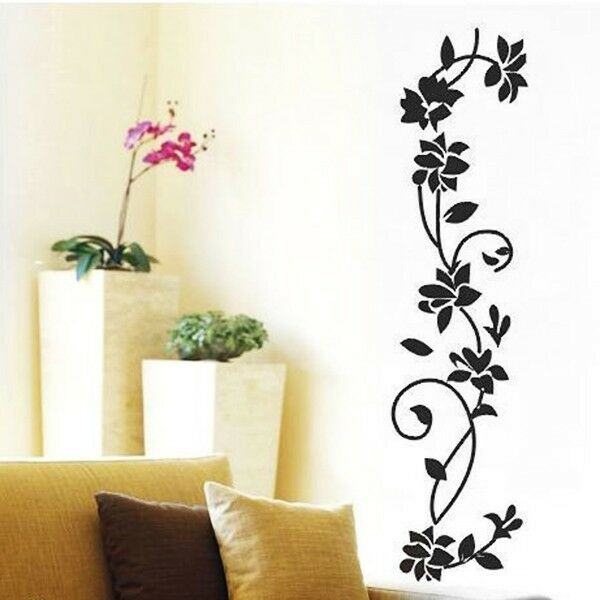 DIY Ratten Flower Vinyl Wall Decal Removable Stickers Art Mural Home Decor Black