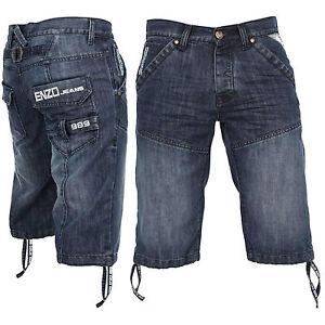 Enzo-pour-Hommes-Jeans-Short-Mode-Chouette-Details-Ezs-243-Black-Blue-Decolore