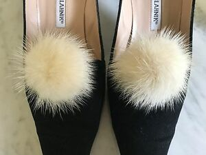 1 Pair Mink Fur Pom Pom Shoe Clips Fluffy Ornament Heels Boots Chic Charms White