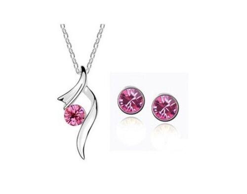 Set Halskette Ohrstecker Zirkonia Stein Ohrringe Pink Damen Schmuck Geschenk