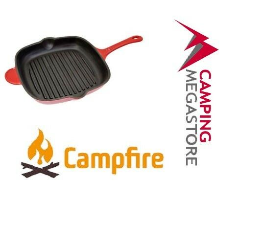 CAMPFIRE RED ENAMEL CAST IRON  GRILL PAN 28CM SQUARE  various sizes