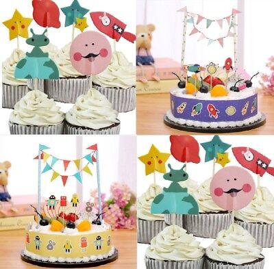 Pleasing Space Rocket Robot Cupcake Toppers Boys Birthday Cake Topper Funny Birthday Cards Online Elaedamsfinfo