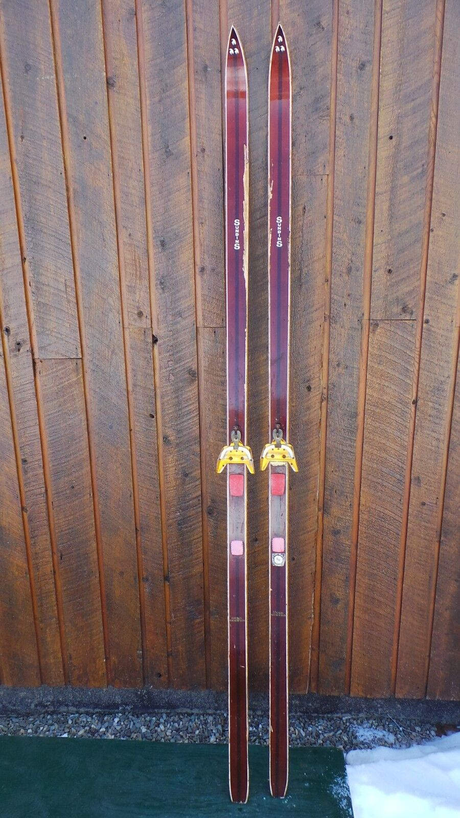 INTERESTING OLD Wooden Brown Skis 85   VERY Long with Metal Bindings SUNDINS