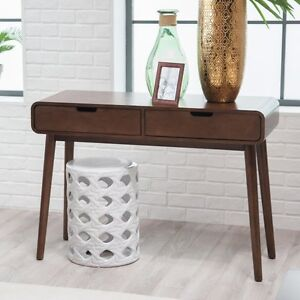 Details about 2 Drawer Brown Console Table Mid-Century Style Home Living  Room Hall Furniture
