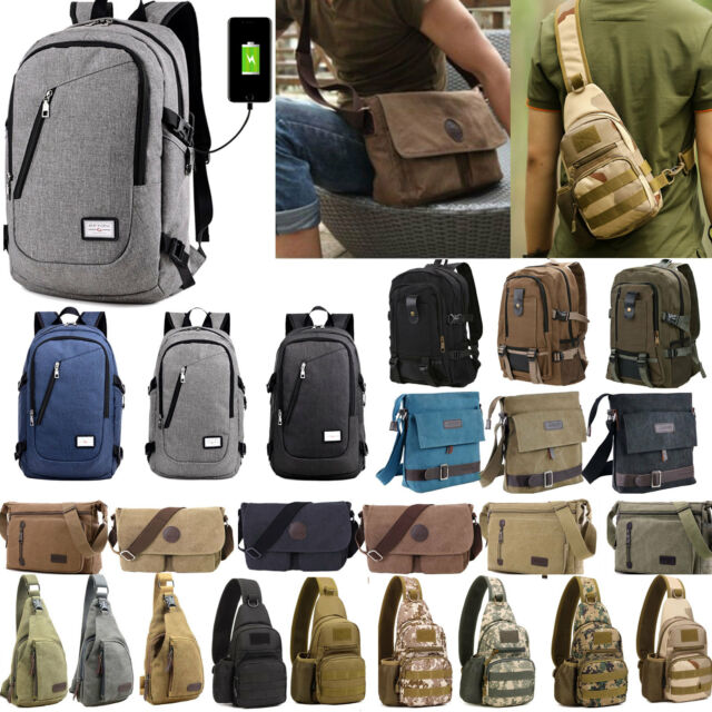 Men's Vintage Canvas Backpack Satchel School Shoulder Messenger Bags