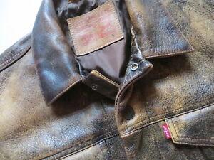 Levi's Jacke, Lederjacke Gr. S, antique brown ! Echt-Leder Jeansjacke, WIE NEU !