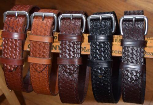 "1 1//2/"" wide solid leather basket weave embossed leather belt"