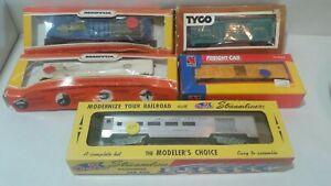 Lot-of-5-Train-Cars-Vintage-HO-Scale-tyco-lifelike-ok-mantua-look