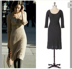 848d95f0c5 Image is loading Anthropologie-Maple-Mazzola-Charcoal-Grey-Sweater-Dress-Sz-