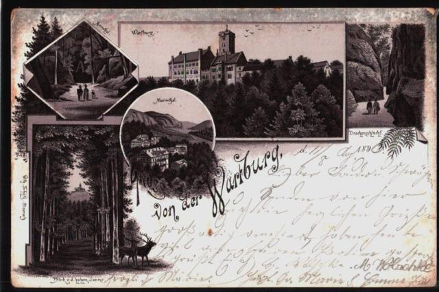 231.481 Eisenach, Die Wartburg, Gruß, Mariental, Drachenschlucht, Litho, gl1896