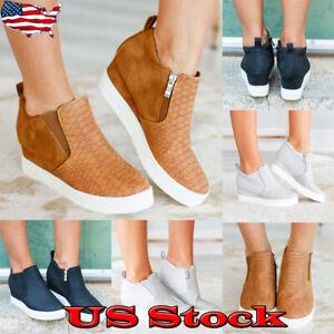 Womens-Hidden-Wedge-Heel-Sneakers-Zip-Trainers-Snake-Print-Ankle-High-Top-Shoes