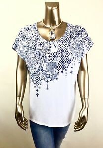 CHICO-039-S-NWT-SIZE-2-L-WHITE-BLUE-DOLMAN-SHORT-SLV-TOP