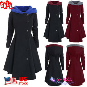 Details About Us Womens Winter Long Peacoat Coat Hooded Trench Outwear Warm Swing Jacket Dress
