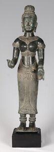 Antiguedad-Khmer-Estilo-Baphuon-Lakshmi-Estatua-Devi-Consort-De-Vishnu-71cm