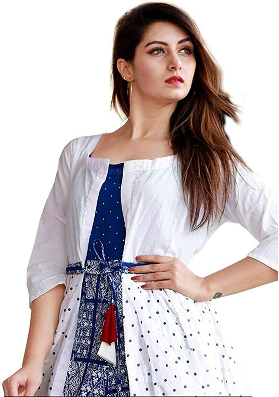 Indian elegant kurti designer Top with jacket women's flared kurta tunic Dress