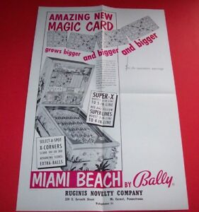 MIAMI-BEACH-Pinball-FLYER-Original-NOS-1955-Bingo-Game-Promo-Sales-Artwork-Bally