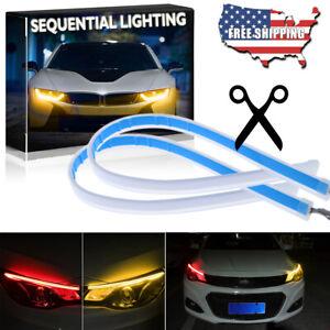 2x 30CM Amber Red LED Car DRL Daytime Running Strip Light Flexible Soft Tube NEW