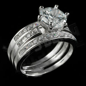 .925 Sterling Silver 18k White Gold 3 Piece Band Wedding CZ Womens Ring Set