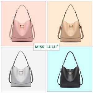 7b2f5d0cfefb8 Ladies Shoulder Tote Bag Faux Leather Set 2 Piece Women Bucket ...