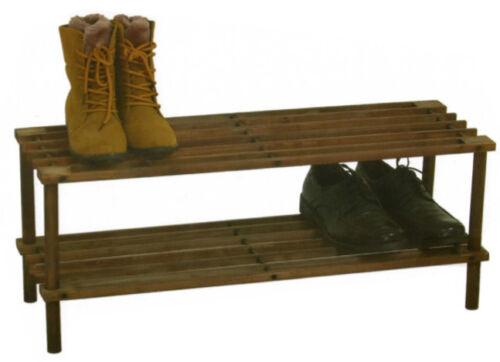 2 or 4 Tier Brown or Natural Wooden Shelf Storage Organiser Shoe Rack Stand