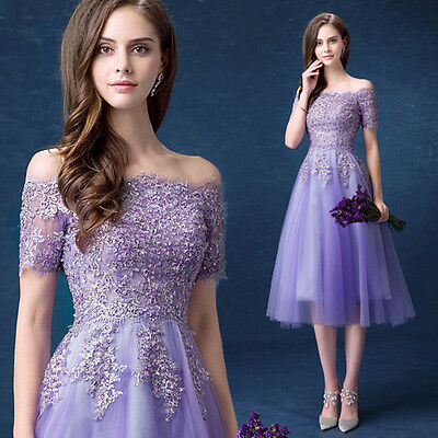 Purple Lace Mermaid Evening Formal Party Prom Gown Bridesmaid Wedding Dress L590
