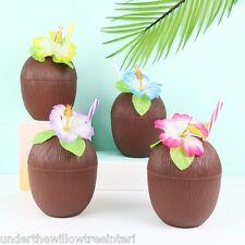 Coco beber Taza Con Paja barbacoa Tropical Playa Fiesta Hawaiano Flor De Picnic