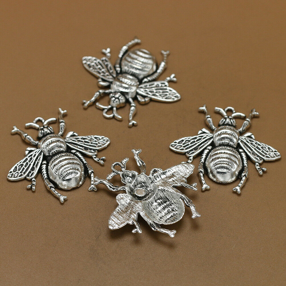 10pcs Antique Silver Bee Charms Honeybee Pendant Jewelry Making Findings Pip