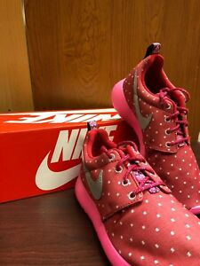 Nike Kids (GS) Grade School Roshe Run Print 677784-606 Red Pink Polka Dot