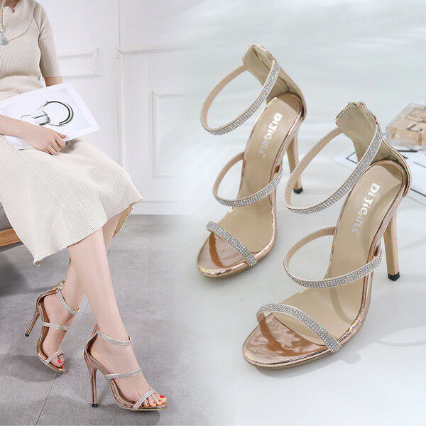 Sandalei stiletto spillo 12 cm comodi oro strass simil pelle comodi cm eleganti ... bc7c0f