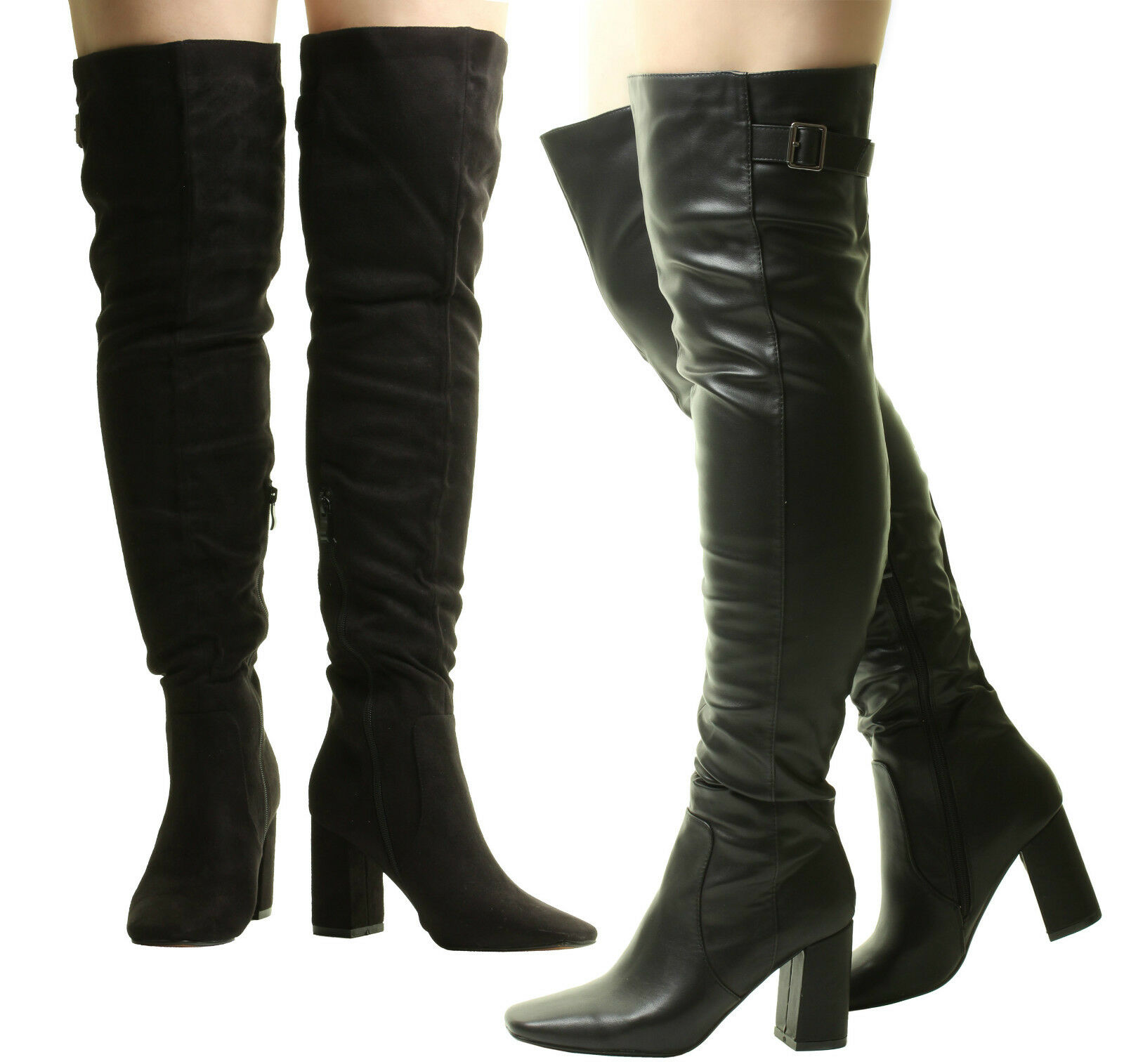 New Ladies Womens Over The Knee Thigh High Heel Sexy Stretch Black Long Boots
