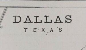 Vintage-1900-DALLAS-TEXAS-Map-11-034-x14-034-Old-Antique-Original-HIGHLAND-PARK