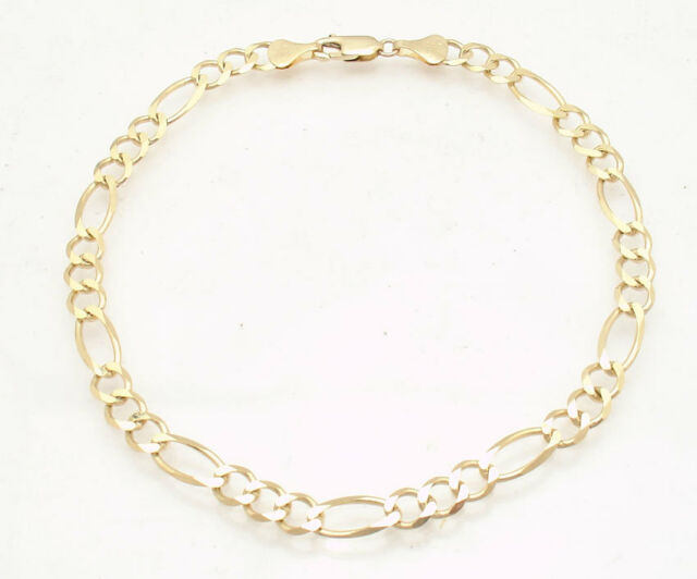 link gold anklet real ankle inches figaro p bracelet royal yellow solid s