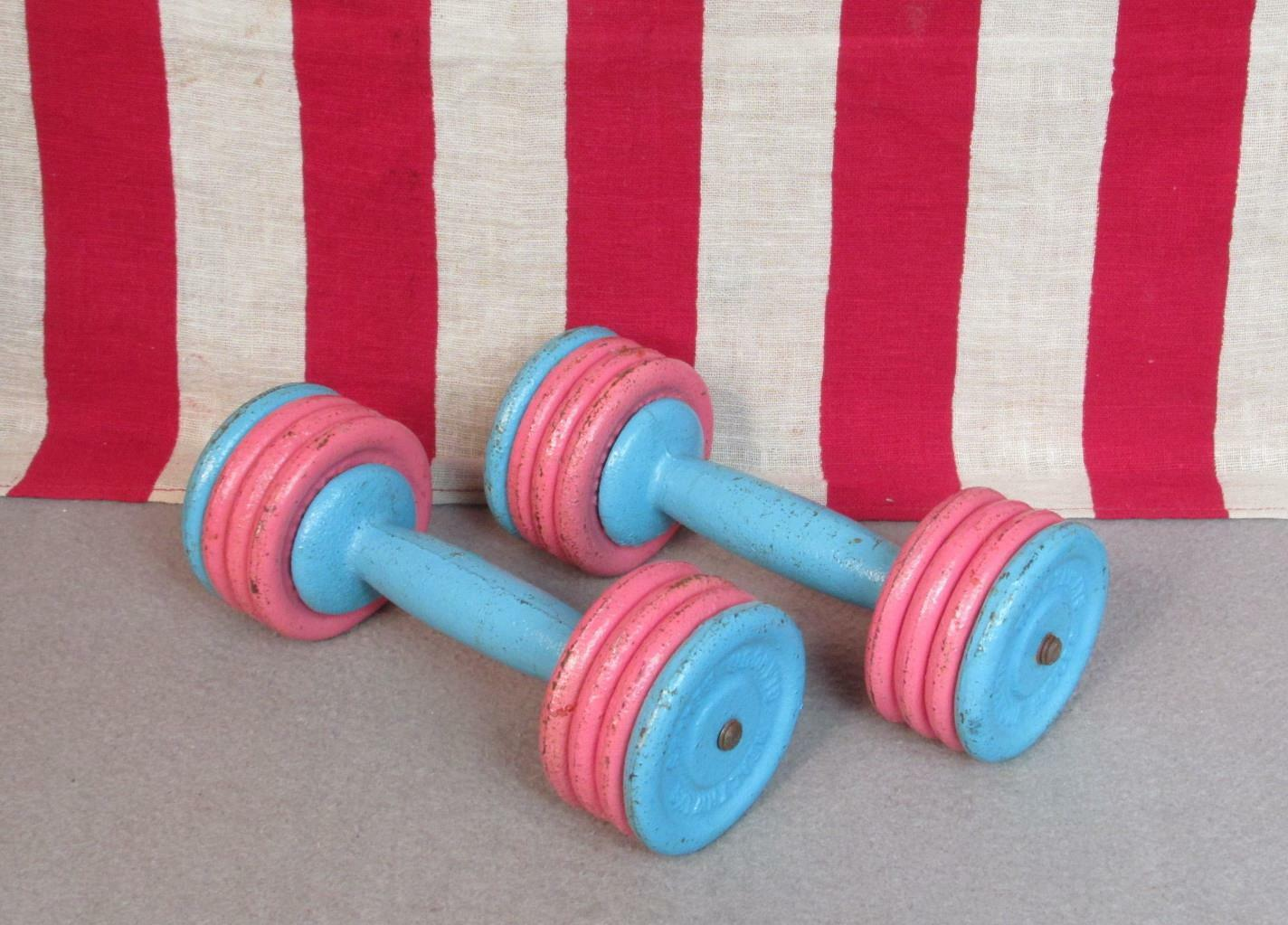 Vintage 1950er Healthways Gym Dumblels Cast Iron Weights 5 Lbs.Glamour Belles