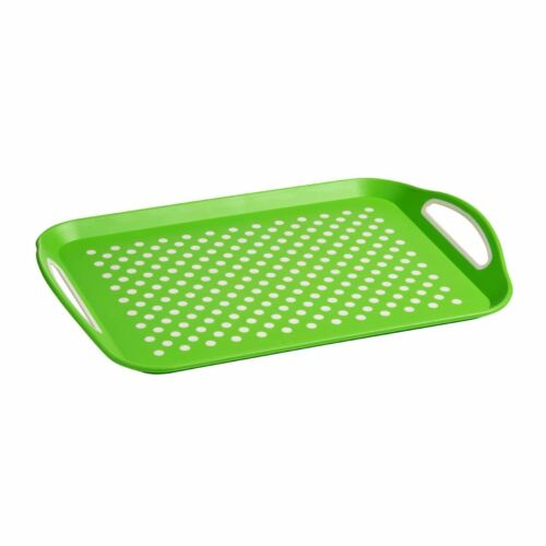 Green With White Dots PP /& Tpe Anti-Slip Serving Tray