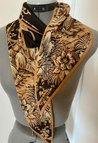 Asian influenced Cream and Black Silk Oblong Scarf