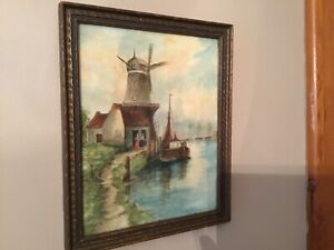 Watercolour-And-Coloured-Pencils-Holland-Windmill-Scenery-Artist-Signed