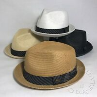 Premium Summer Men's Straw Mesh Porkpie Fedora Stingy Brim Dress Hat 4 Colors