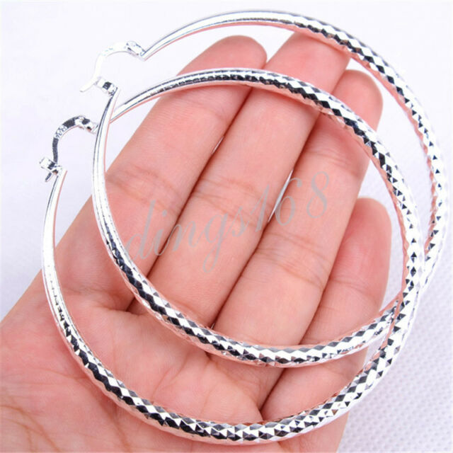 Women S Extra Large 925 Sterling Silver Diamond Cut 70mm Round Hoop Earrings H47